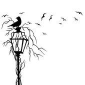 Birds In Street Wall Decal — Stock Vector