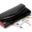 Постер, плакат: Retro wallet over euro money