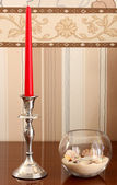 silver plated candlestick. — Stock Photo