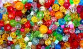 Close up multi colored beads heap  — Stock Photo