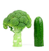 Cucumber and broccoli on a white background. — Stock Photo