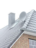 Roof of the house in winter frost — Stock Photo