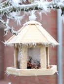 Three-storey bird feeder on a tree in winter. — Stock Photo