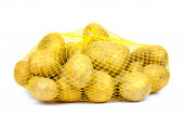 Potatoes in string-bag, Isolated, on white background — Stock Photo