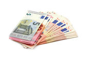 Euro banknotes isolated over white with clipping path. — Stock Photo