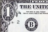 白色背景上孤立的一个美元.. — 图库照片