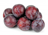 Ripe plums on a white background — Stock Photo