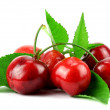 Sweet Cherry with stem and leaf  — Stock Photo #75114641