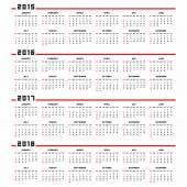 Calendar 2015, 2016, 2017, 2018 — Stock Vector