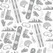 Winter sports collection pattern — Stock Vector