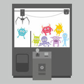 Claw crane game machine — Stock Vector