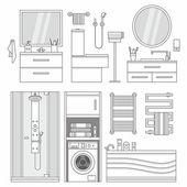 Vektor uppsättning av möbler i badrum — Stockvektor