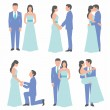 Set of bride and groom — Stock Vector #70060939