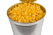 Open aluminum can with corn — Stock Photo