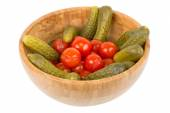 Pickled cucumbers and tomatoes — Stock Photo
