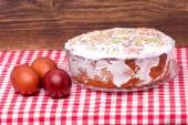 Kuchen kandierte früchte und zucker pulver — Stockfoto