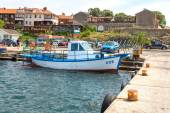 Nessebar, Bulgaria, June,10,2013. Colourful fishing boats at the — Stock Photo