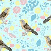 Patrón decorativo con pájaros — Vector de stock