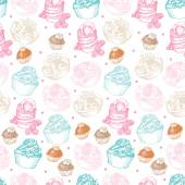 Seamless pattern with cupcakes and chocolates — Stock Vector