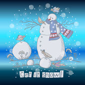 New year card with a snowman — Stock Vector