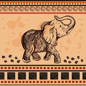 этнические африканские бесшовные с слонов — Cтоковый вектор