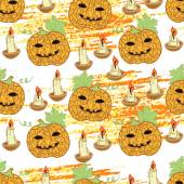 Halloween pattern with pumpkins and candles — Stock Vector