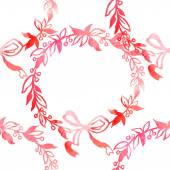 Pink watercolor wreath. Hand painting. — Stock Vector