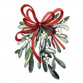 Watercolor sprig of mistletoe — Stock Photo