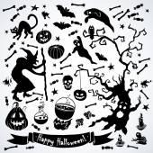 Black and white halloween set. — Stock Vector