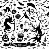 Black and white halloween pattern. — Stock Vector