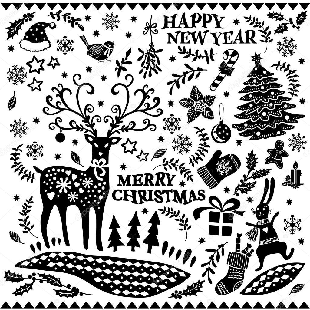 黑色和白色的圣诞节涂鸦集.手绘图形.圣诞图标集
