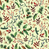 Herbal watercolor seamless — Vector de stock