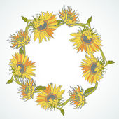 Wreath with Yellow Sunflowers — Vecteur