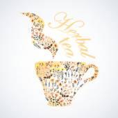 Watercolor illustration of herbal tea — Vector de stock