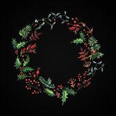 Wreath with plants and berries — Vector de stock