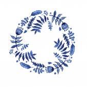 Wreath with blue flowers — Vector de stock