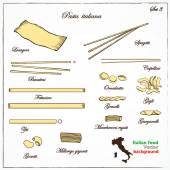 Collection of Italian pasta — Stock Vector