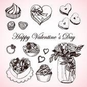 Romantic set of Valentine's Day — Cтоковый вектор