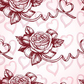 Romantic pattern with roses and hearts — Stock Vector