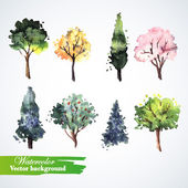 Set of watercolor trees — Stok Vektör