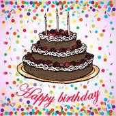 Card of birthday cake — Stock Vector