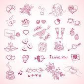Valentine's Day hand drawn pattern — Stock Vector