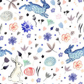 Spring floral pattern with rabbits — Stock Vector