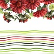 Background with red flowers and strips — Stock Vector #68698219