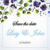 Wedding card with watercolor blue flowers — Stock vektor