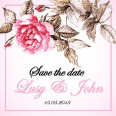 Wedding card with watercolor rose — Stock vektor