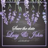 Wedding invitation with lavender flowers — Stock vektor