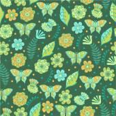 花と蝶パターン — ストックベクタ