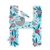 Floral letter H — Stock Vector