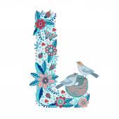 Floral letter L — Stock Vector